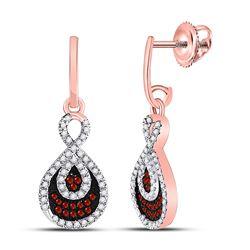 Round Red Color Enhanced Diamond Teardrop Dangle Earrings 3/8 Cttw 10kt Rose Gold