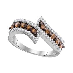 Round Brown Diamond Bypass Band Ring 1/2 Cttw 10kt White Gold