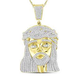 Mens Diamond Jesus Christ Messiah Charm Pendant 1-7/8 Cttw 10kt Yellow Gold