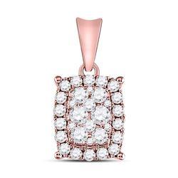 Diamond Rectangular Cluster Pendant 1/2 Cttw 14kt Rose Gold