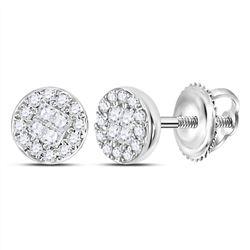 Diamond Cluster Earrings 1/6 Cttw 10kt White Gold