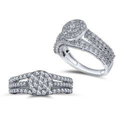 1.4 CTW Diamond Ring 14K White Gold - REF-102F7N