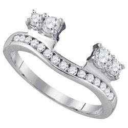 Diamond Ring Guard Wrap Solitaire Enhancer 1/2 Cttw 14kt White Gold