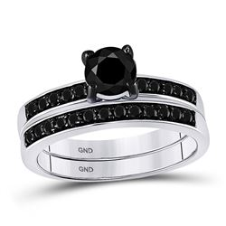 Round Black Color Enhanced Diamond Bridal Wedding Engagement Ring Band Set 1.00 Cttw 10kt White Gold
