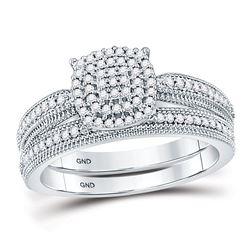Diamond Milgrain Bridal Wedding Ring Set 1/3 Cttw 10kt White Gold