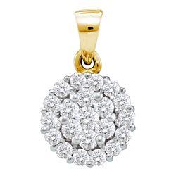 Diamond Flower Cluster Pendant 7/8 Cttw 14kt Yellow Gold