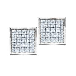 Round Pave-set Diamond Square Cluster Earrings 1/2 Cttw 10kt White Gold