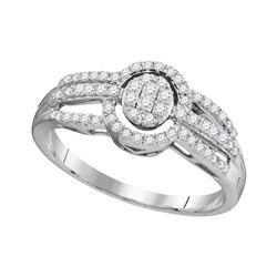 Diamond Framed Oval Cluster Triple Strand Ring 1/3 Cttw 10kt White Gold