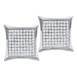 Diamond Square Kite Cluster Stud Earrings 1/10 Cttw 10kt White Gold