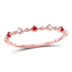 Round Ruby Diamond Beaded Stackable Band Ring 1/20 Cttw 10kt Rose Gold