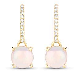 1.07 ctw Ethiopian Opal & Diamond Earrings 14K Yellow Gold - REF-28A6M