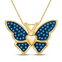 Round Blue Color Enhanced Diamond Butterfly Bug Pendant 1/6 Cttw 10kt Yellow Gold