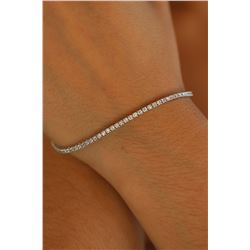 Natural 2.04 ctw Diamond Eternity Tennis Bracelet 18K White Gold - REF-167Y8Z