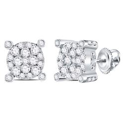 Diamond Corner Cluster Earrings 1/2 Cttw 14kt White Gold