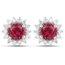 1.24 ctw Rubellite & Diamond Earrings 14K Yellow Gold - REF-79K2T