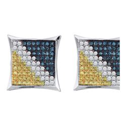 Mens Round Blue Yellow Color Enhanced Diamond Square Kite Cluster Earrings 1/4 Cttw 10kt White Gold