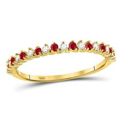 Round Ruby Modern Alternating Stackable Band Ring 1/4 Cttw 10kt Yellow Gold
