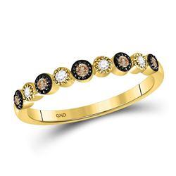 Round Brown Diamond Milgrain Dot Band Ring 1/8 Cttw 10kt Yellow Gold