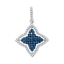 Round Blue Color Enhanced Diamond Star Frame Pendant 1/2 Cttw 10kt White Gold