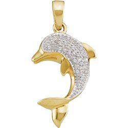 Diamond Dolphin Fish Animal Pendant 1/10 Cttw 14kt Yellow Gold