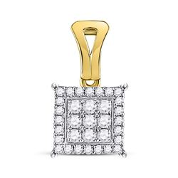 Diamond Square Cluster Pendant 1/2 Cttw 14kt Yellow Gold