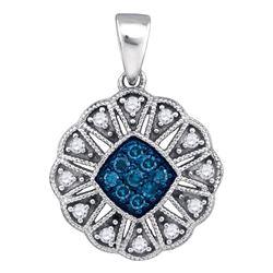 Round Blue Color Enhanced Diamond Fashion Pendant 1/5 Cttw 10kt White Gold