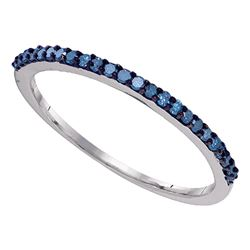 Round Blue Color Enhanced Diamond Band Ring 1/5 Cttw 10kt White Gold