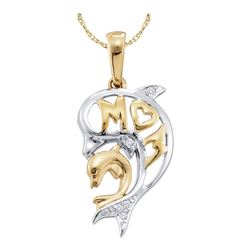 Diamond Two-tone Double Dolphin Mom Pendant .03 Cttw 10kt Yellow Gold