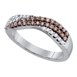 Round Brown Diamond Crossover Band Ring 3/8 Cttw 10kt White Gold