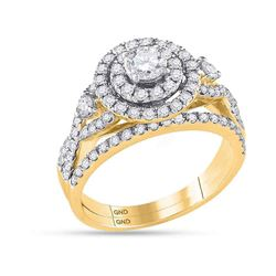 Diamond Halo Bridal Wedding Engagement Ring Band Set 1-1/2 Cttw 14kt Yellow Gold