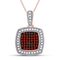 Round Red Color Enhanced Diamond Square Cluster Pendant 1/5 Cttw 10kt Rose Gold