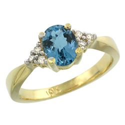 1.06 CTW London Blue Topaz & Diamond Ring 10K Yellow Gold - REF-28H5M