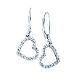 Diamond Heart Dangle Earrings 1/20 Cttw 10kt White Gold