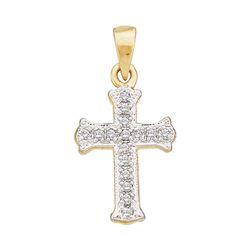 Diamond Small Scalloped Cross Religious Pendant 1/12 Cttw 10kt Yellow Gold