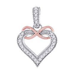 Diamond Heart Infinity Pendant 1/10 Cttw 10kt Two-tone Gold