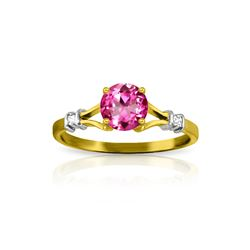 Genuine 1.02 ctw Pink Topaz & Diamond Ring 14KT Yellow Gold - REF-28N5R