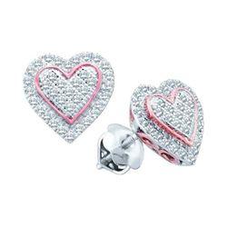 Diamond Rose-tone Heart Cluster Screwback Earrings 1/4 Cttw 10kt White Gold
