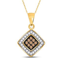 Round Brown Diamond Square Pendant 1/4 Cttw 10kt Yellow Gold