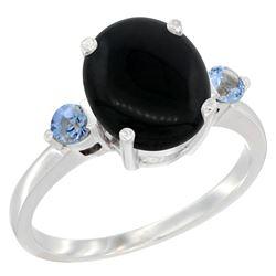 1.79 CTW Onyx & Blue Sapphire Ring 14K White Gold - REF-30M3K