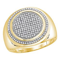 Mens Round Pave-set Diamond Circle Frame Cluster Ring 1/2 Cttw 10kt Yellow Gold