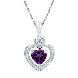 Heart Lab-Created Amethyst Heart & Diamond Pendant 3/4 Cttw 10kt White Gold