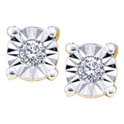 Round Illusion-set Diamond Solitaire Screwback Earrings 1/20 Cttw 14kt Yellow Gold