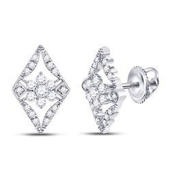 Diamond Geometric Cluster Earrings 3/8 Cttw 14kt White Gold