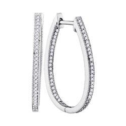 Diamond Oblong Oval Hoop Earrings 1/3 Cttw 10kt White Gold