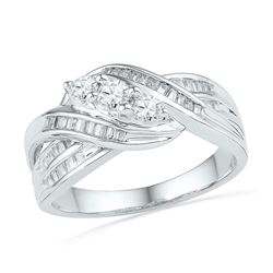 Round Baguette Diamond 3-Stone Crossover Band Ring 1/2 Cttw 10kt White Gold