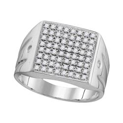 Mens Diamond Polished Square Cluster Ring 1/2 Cttw 10kt White Gold
