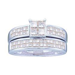 Diamond Bridal Wedding Engagement Ring Band Set 1 Cttw 14kt White Gold