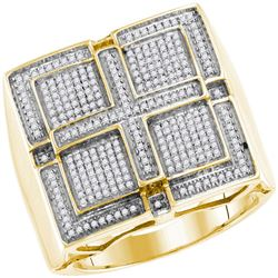 Mens Round Pave-set Diamond Square Cross Cluster Ring 1/2 Cttw 10kt Yellow Gold