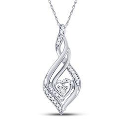 Diamond Heart Spade Frame Pendant 1/8 Cttw 10kt White Gold
