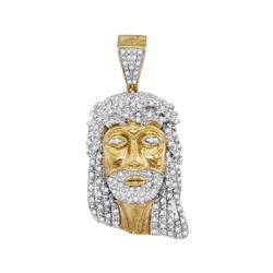 Mens Diamond Jesus Christ Face Charm Pendant 7/8 Cttw 10kt Yellow Gold
